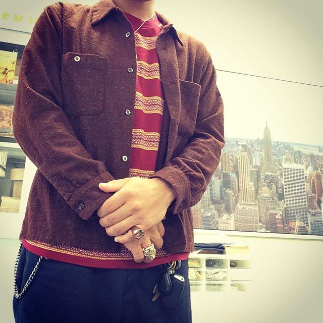 ウールシャツとジャガードTEE