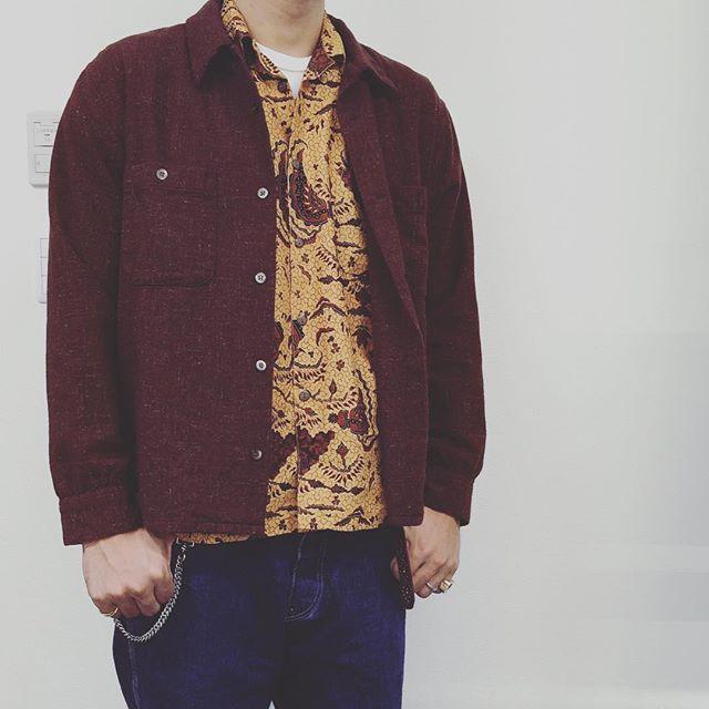 WOOLシャツ × 柄シャツ