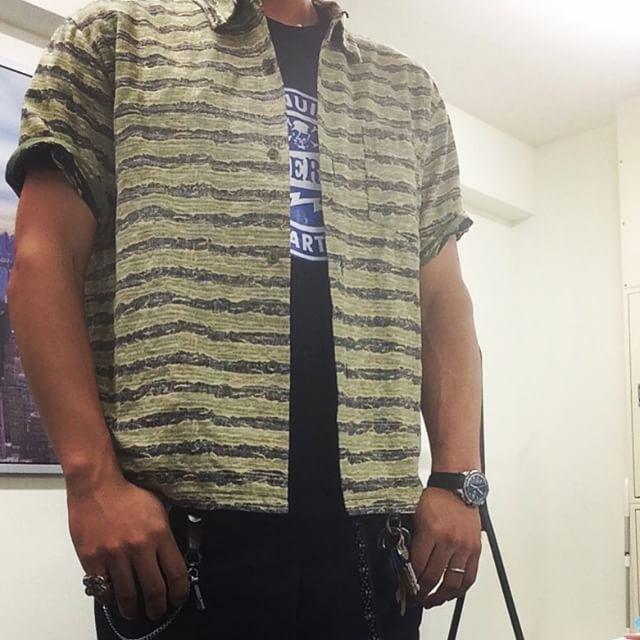 プリントTEEとアロハシャツ