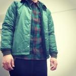 緑のコーチジャケット × WOOL CHECK SHT