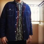 迷彩柄のフランネルシャツ